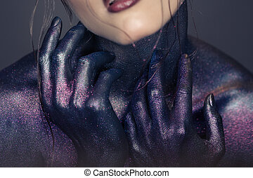 Fashion portrait of beautiful woman. Fantasy make-up.