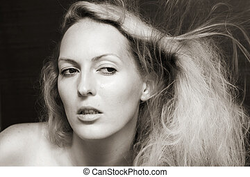 Fashion portrait of beauty woman
