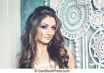 Fashion Portrait of Cute Model Girl with Long Curly Hair