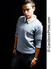 Fashion portrait of handsome hispanic man