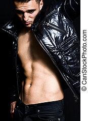 Fashion portrait of handsome lean man - Fashion portrait of...