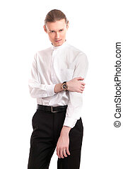 Fashion portrait of handsome sexy young man
