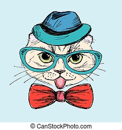 Fashion Portrait of Hipster Cat in Big Glasses,bow tie and hat,hand drawn