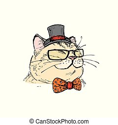 fashion portrait of kitten boy, cat with bow tie and glasses,