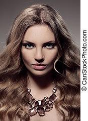 Fashion Portrait Of Luxury Woman With Jewelry.