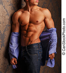 Fashion portrait of muscular man in shirt . Studio shot