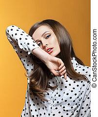 Fashion portrait of sensual beautiful woman