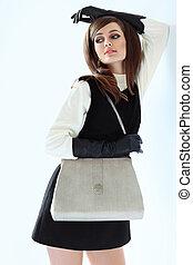 Fashion portrait of stylish beautiful woman in retro style