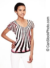 fashion  portrait of stylish smiling casual young female beautiful black american girl agaist white background