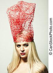 Fashion portrait of the blonde woman