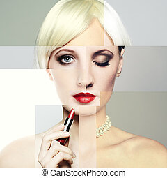 Fashion portrait of the young blonde woman with red lipstick. Co