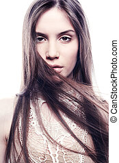 Fashion portrait of young beautiful elegant woman. Close-up