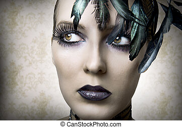 Fashion portrait of young beauty woman