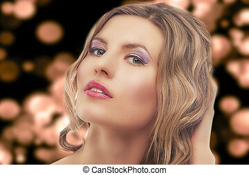 fashion portrait of young blond woman