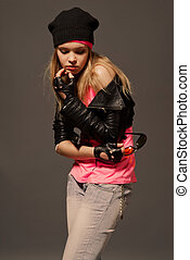 Fashion portrait of young casual girl