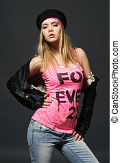 Fashion portrait of young casual girl - Fashion portrait of...
