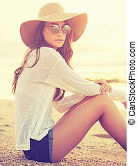 Fashion portrait of young woman - Fashion portrait of...