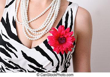 Fashion portrait. - Close-up of a woman in a zebra print...