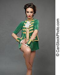 fashion portrait, young woman, vintage outfit