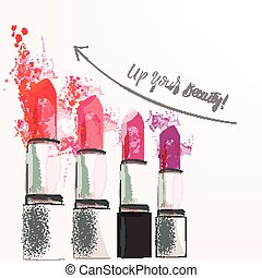 Fashion poster illustration with set of pink lipstcik from...