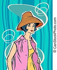 Fashion retro girl in the sun hat