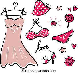 Fashion retro red icons and accessories for romance girl -...