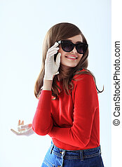 Fashion retro style portrait of young beautiful woman in sunglasses