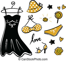 Fashion retro yellow icons and accessories for romance girl