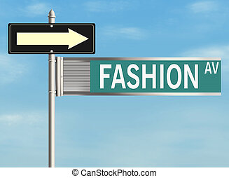 Fashion. Road sign on the sky background. Raster illustration.