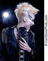 Fashion Rocker Style Model Girl Portrait. Hairstyle. Punk Woman Makeup, Hairdo and black Nails. Smoky Eyes