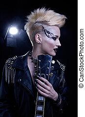 Fashion Rocker Style Model Girl Portrait
