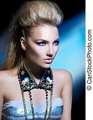 Fashion Rocker Style Model Girl Portrait. Hairstyle