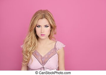 fashion romantic blonde over pink barbie doll style