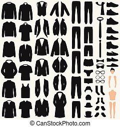 fashion., roupas, vetorial, paleto, silhouette., jogo, casaco, homem, camisa, calças