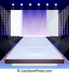 Fashion runway poster - Empty illuminated fashion runway...