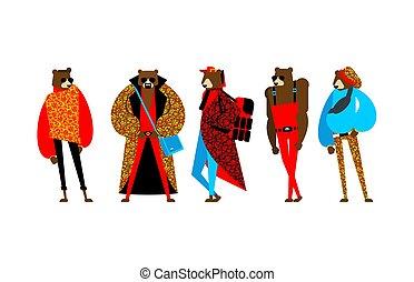Fashion Russian Bear set. trendy beast model. Folk ...