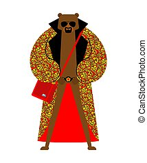 Fashion Russian Bear. trendy beast model. Folk Fashionable ...