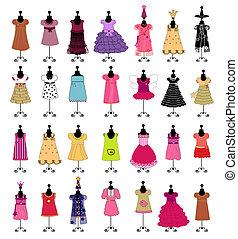 fashion., sæt, girls., ve, klæde