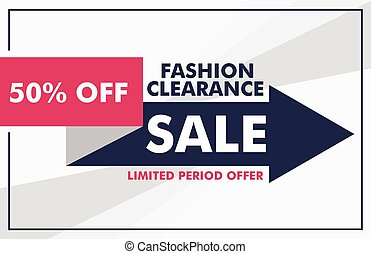 fashion sale banner design with arrow template