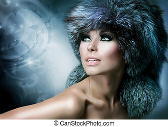 fashion., schöne , m�dchen, in, pelz, hat., winter, frau