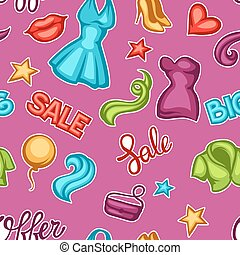Fashion seamless pattern with female clothing and accessories