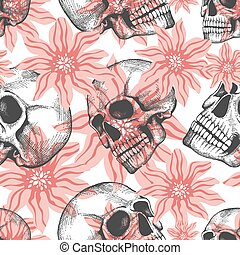 Fashion seamless pattern with hand drawn sculls and flowers