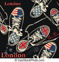 Fashion seamless pattern with sports boods decorated by British and USA flags.eps
