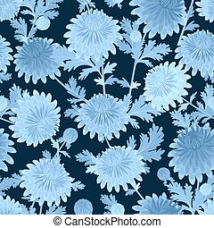 fashion seamless texture with blue chrysanthemum for your design