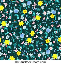 fashion seamless texture with spring flowers for your design