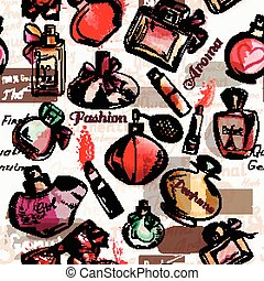 Fashion seamless vector background with  red lipstick and perfumes.