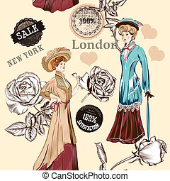 Fashion seamless wallpaper pattern with old fashioned...