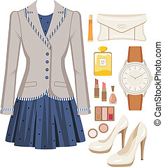 Fashion set from a female suit - Vector illustration. It is ...