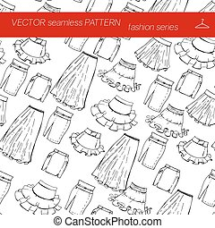 Fashion set. Seamless pattern. Various skirts. Illustration in hand drawing style.