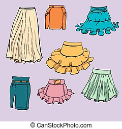 Fashion set. Various skirts. Illustration in hand drawing style.